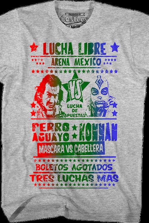bdb46cc923fe Perro Aguayo vs Konnan Luchador T-Shirt  Wrestling Mens T-Shirt