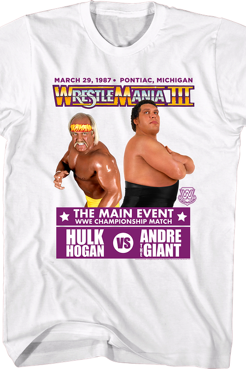 Hulk Hogan vs Andre The Giant WrestleMania III T-Shirt