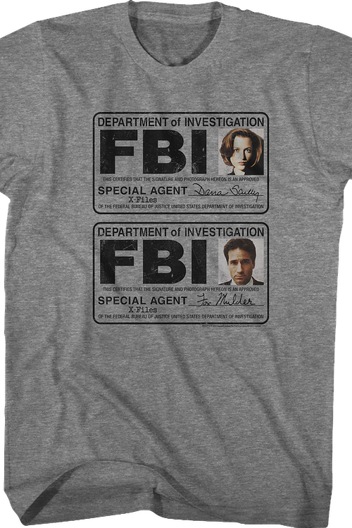 Scully and Mulder Badges X-Files T-Shirt