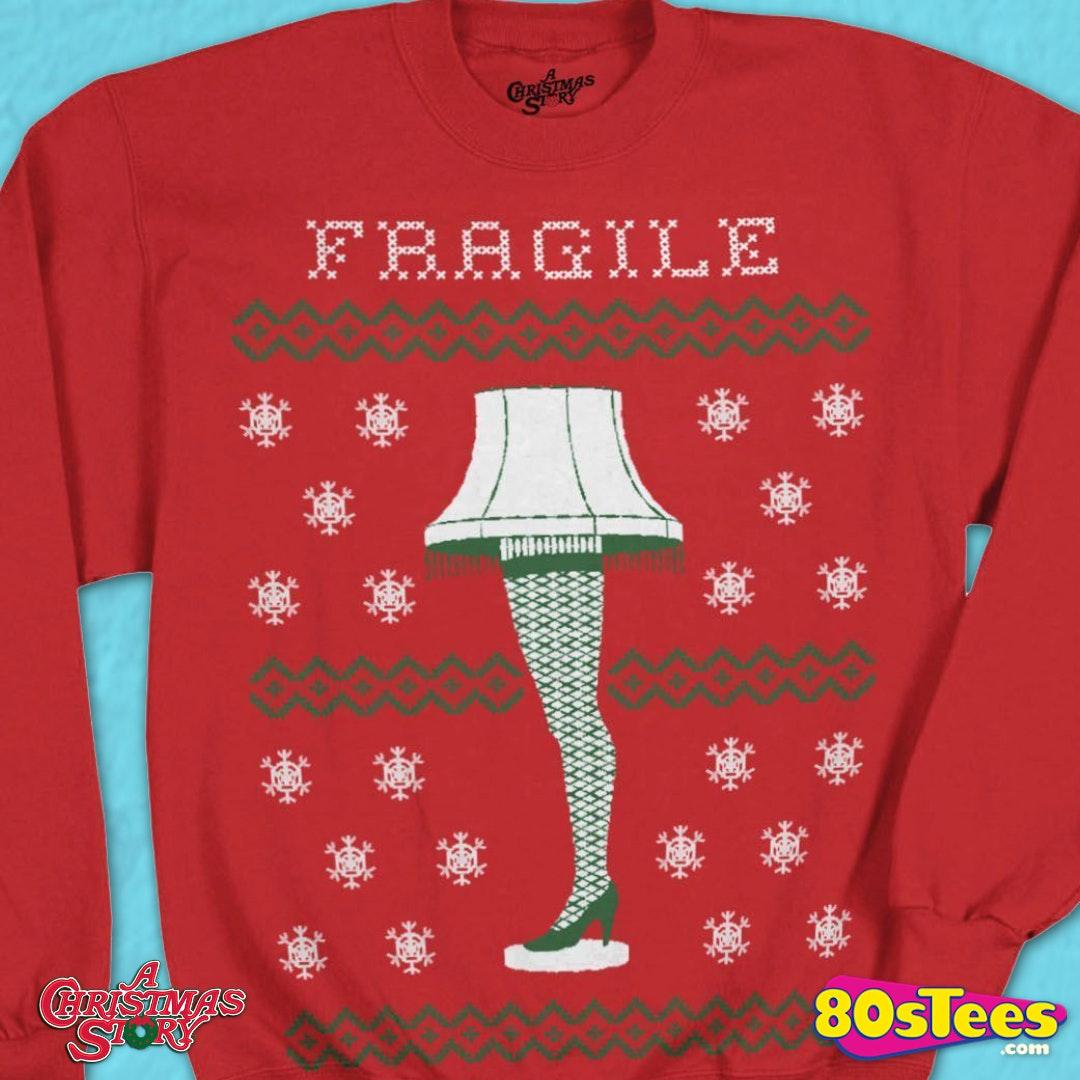 Ooak hand decorated ugly Christmas sweater men\u2019s medium Christmas story leg lamp wild crazy